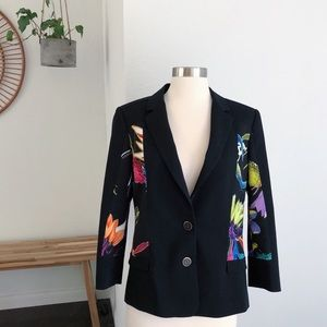 Just Cavalli Black Floral Print Blazer Jacket